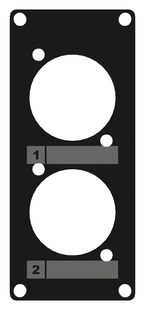 CASY 1 space cover plate - 2 x D-size hole. Black.